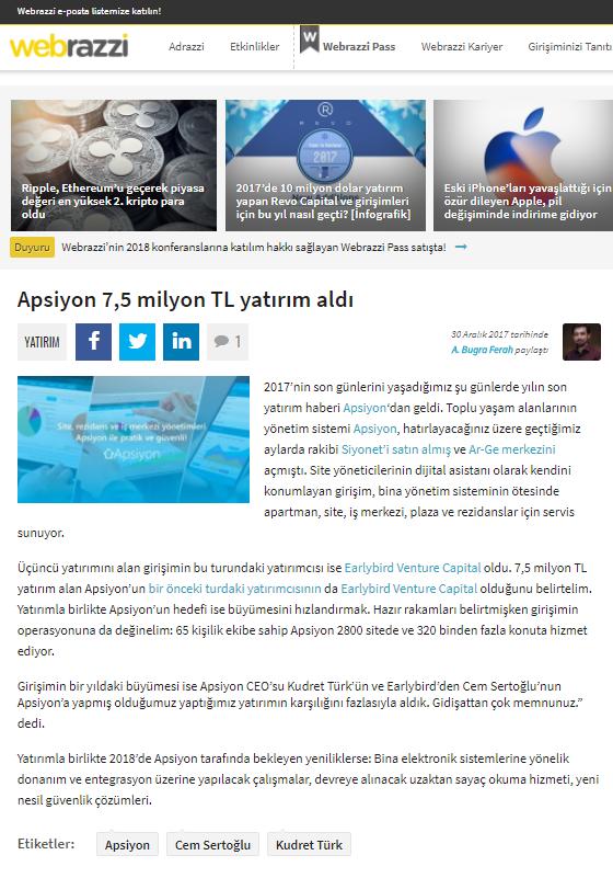 Apsiyon 7,5 milyon TL yatırım aldı