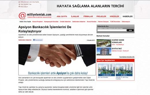 Milliyetemlak.com - Apsiyon Bankacılık İşlemlerini de Kolaylaştırıyor