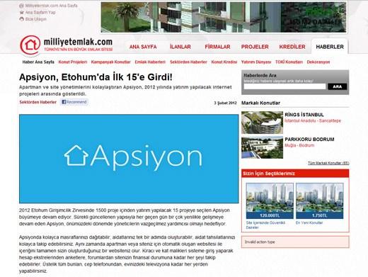 milliyetemlak.com - Apsiyon, Etohum'da İlk 15'e Girdi!