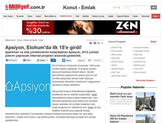konut.milliyet.com.tr - Apsiyon, Etohum'da ilk 15'e girdi!