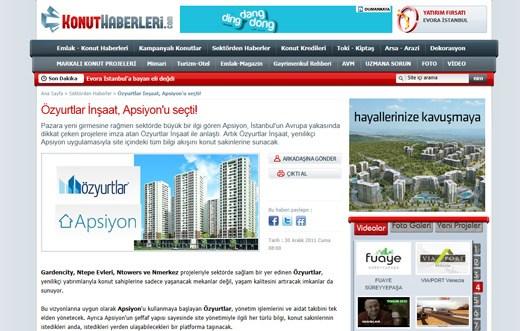 Konuthaberleri.com - Özyurtlar İnşaat, Apsiyon'u seçti!