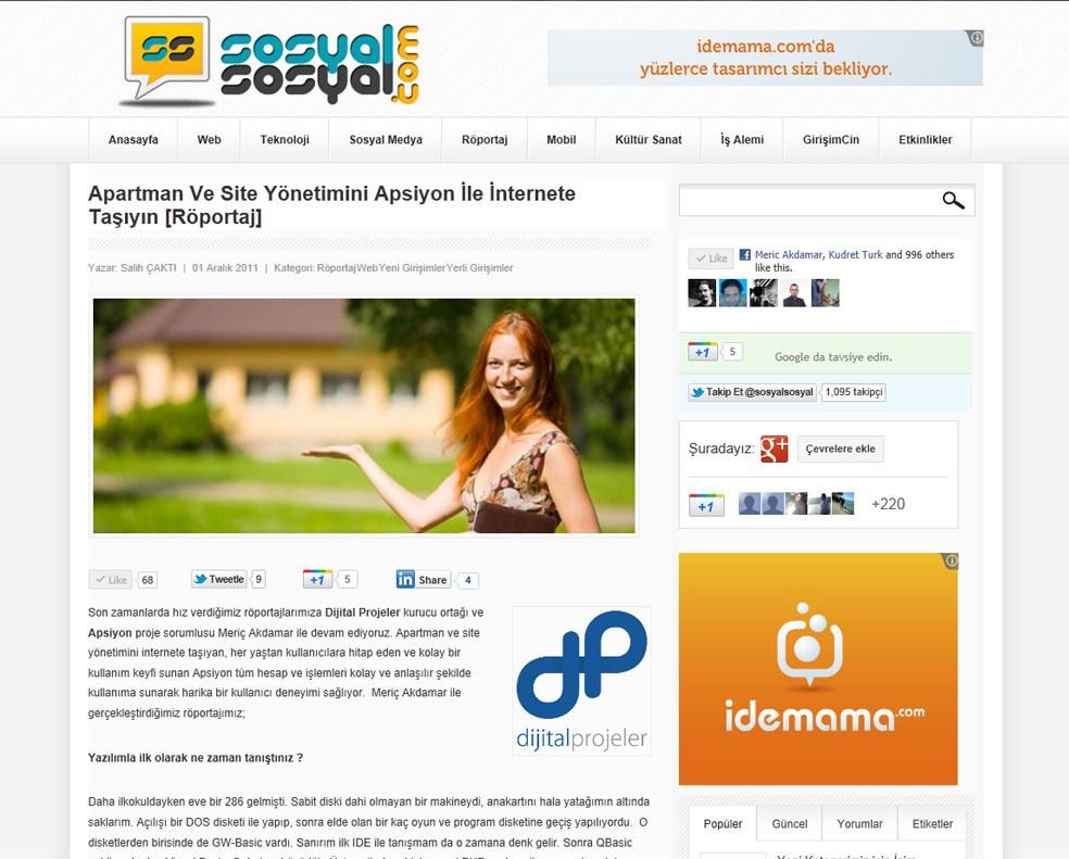 SosyalSosyal.com - Apartman ve Site Yönetimini Apsiyon ile İnternete Taşıyın [Röportaj]