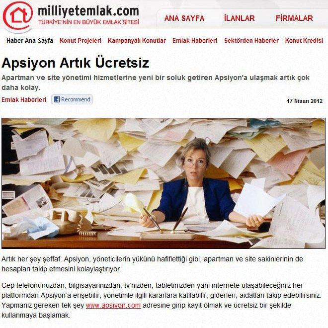 milliyetemlak.com - Apsiyon Artık Ücretsiz