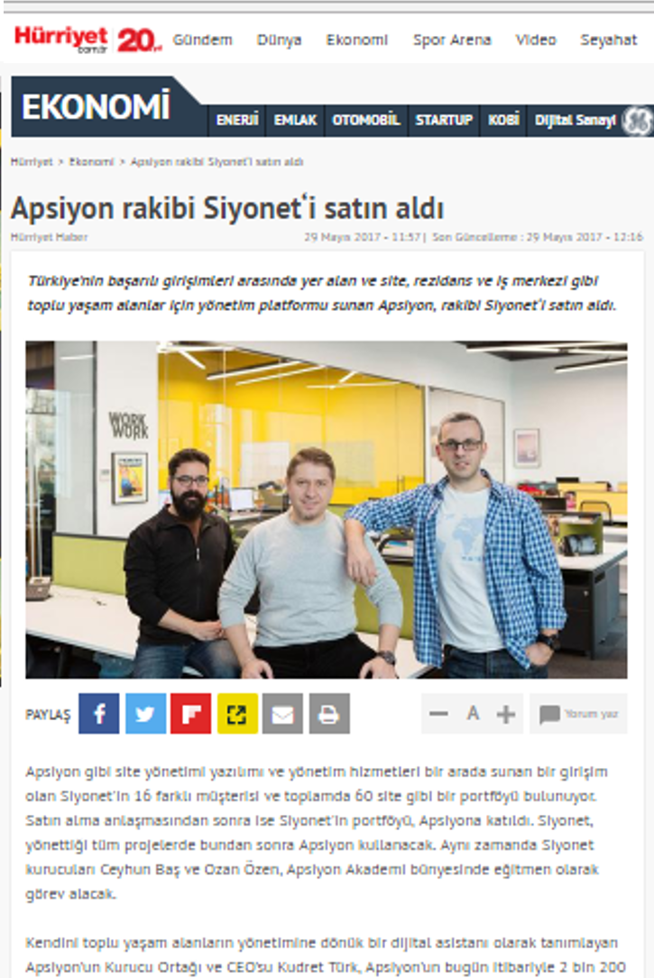 Apsiyon rakibi Siyonet'i satın aldı!