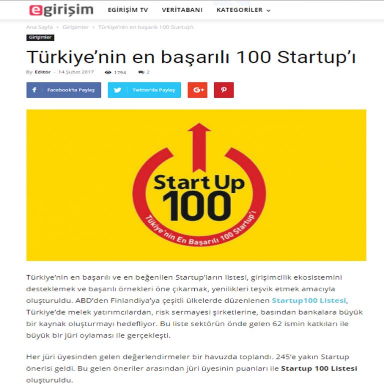 Türkiye'nin en başarılı 100 Startup'ı!