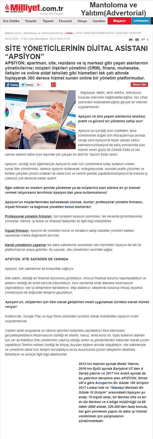 """Site Yöneticilerinin Dijital Asistani """"Apsiyon"""""""