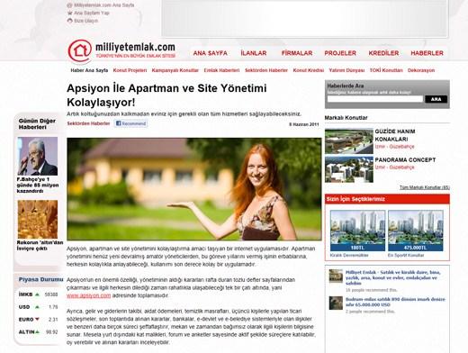 Milliyetemlak.com - Apsiyon İle Apartman ve Site Yönetimi Kolaylaşıyor!