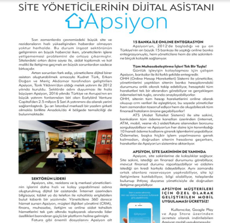 """Site Yöneticilerinin Dijital Asistanı """"Apsiyon""""!"""